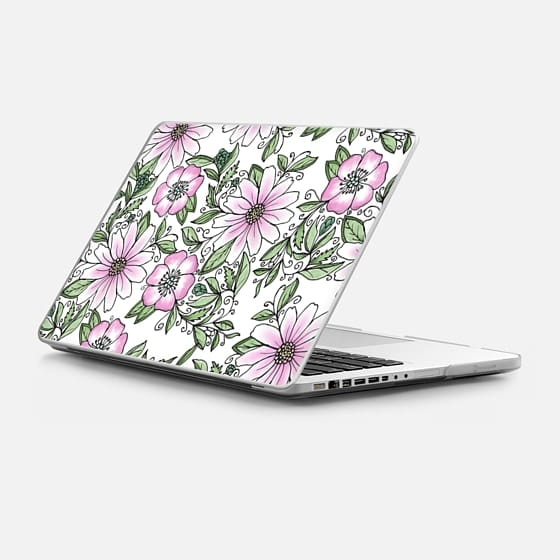 Macbook Pro 13-inch (2009 - 2012) Case - Blush pink green watercolor hand painted floral