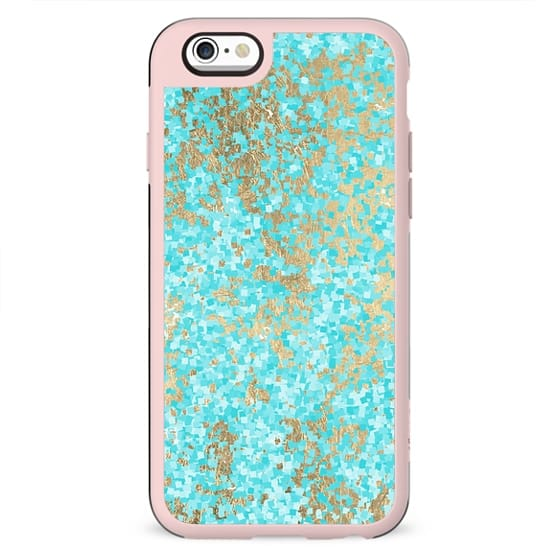 Abstract teal white yellow modern pattern