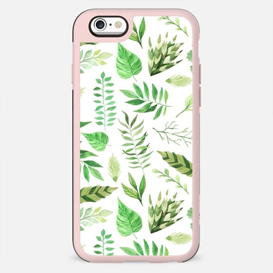 Artistic hand painted forest green watercolor leaves pattern