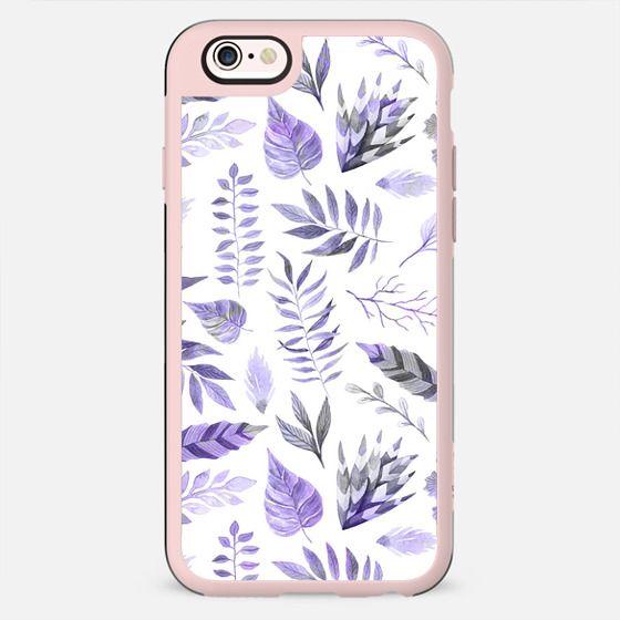 Modern hand painted purple violet watercolor leaves - New Standard Case
