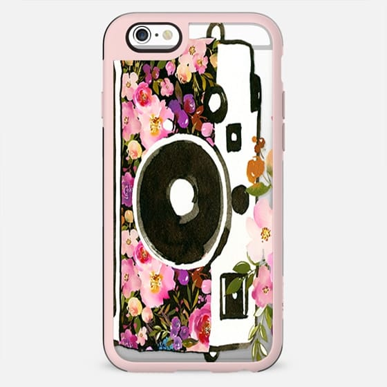 Hand painted blush pink lavender floral photo camera