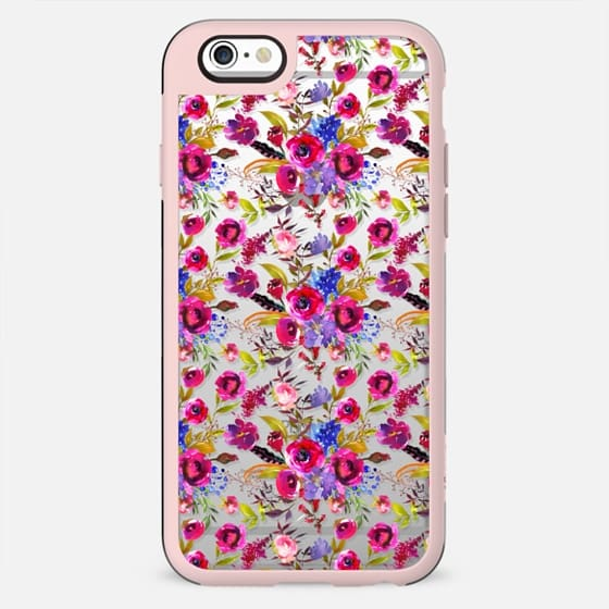 Pink lilac blue watercolor botanical floral pattern - New Standard Case
