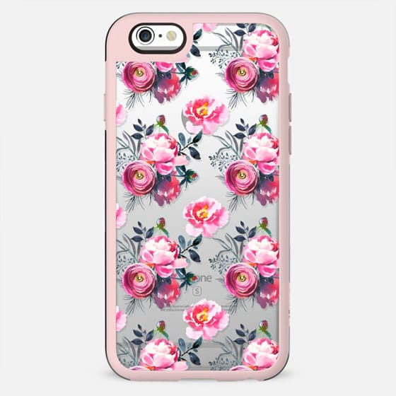 Hand painted blush pink gray yellow watercolor roses pattern - New Standard Case