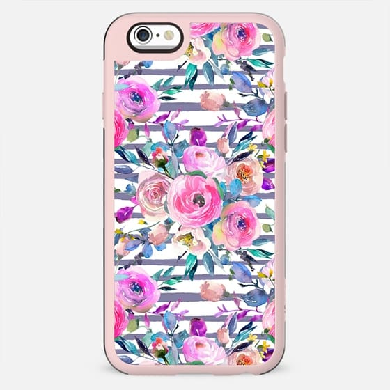 Pink mauve lilac hand painted watercolor roses floral stripes - New Standard Case