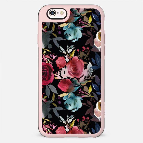 Boho watercolor marsala red blue black floral - New Standard Case