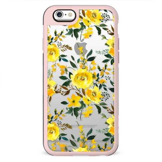 Modern hand painted yellow orange watercolor floral