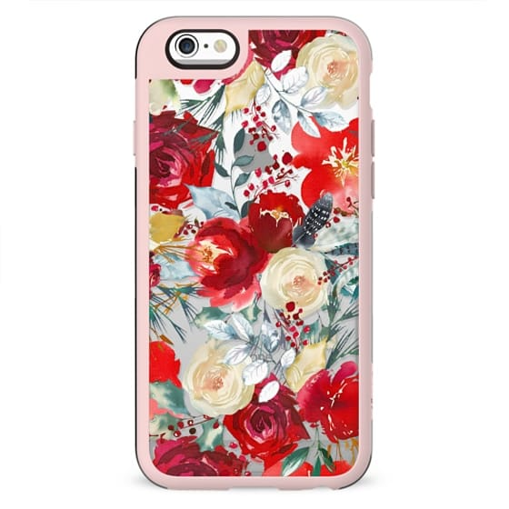 Red teal hand painted boho watercolor roses floral