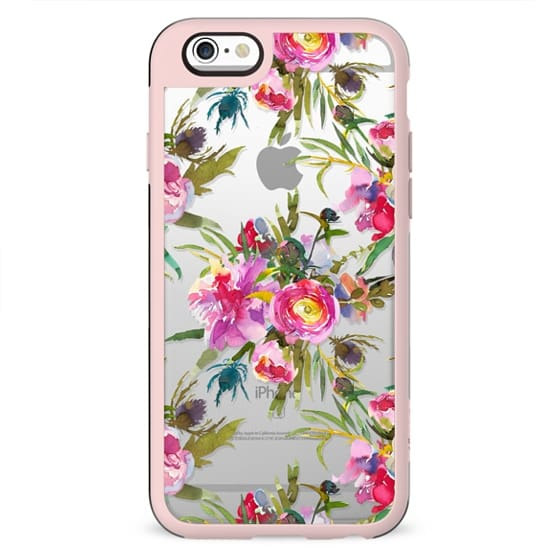 Hand painted blush pink lilac watercolor modern floral