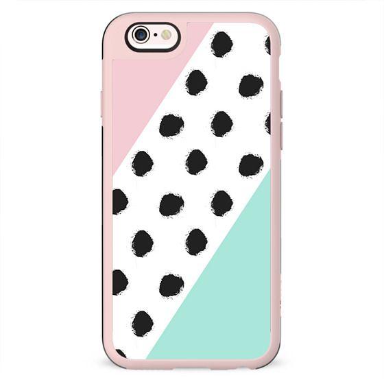 Blush pink teal color block black polka dots