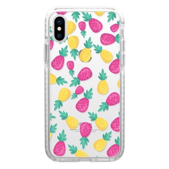 iPhone 6s Cases - Pink yellow hand painted tropical pineapple pattern