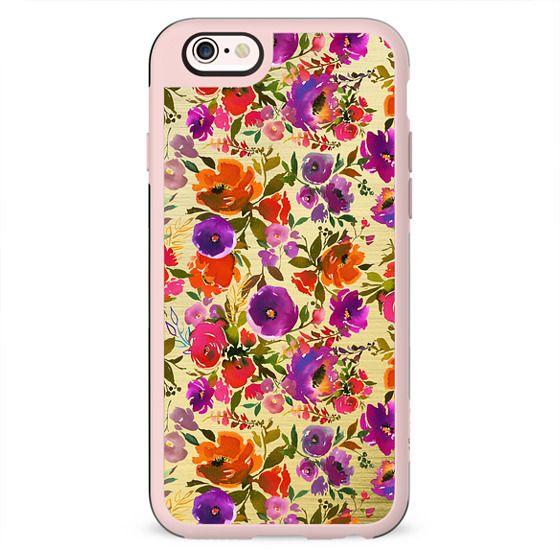 Modern hand painted pink orange purple watercolor floral