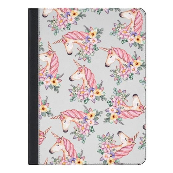 iPad Air 2 Covers - Pink lilac yellow green watercolor magical unicorn floral