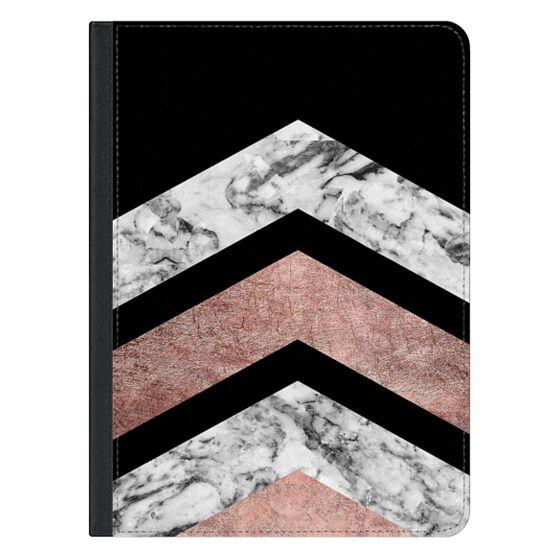 12.9-inch iPad Pro Covers - Modern rose gold black white geometric marble