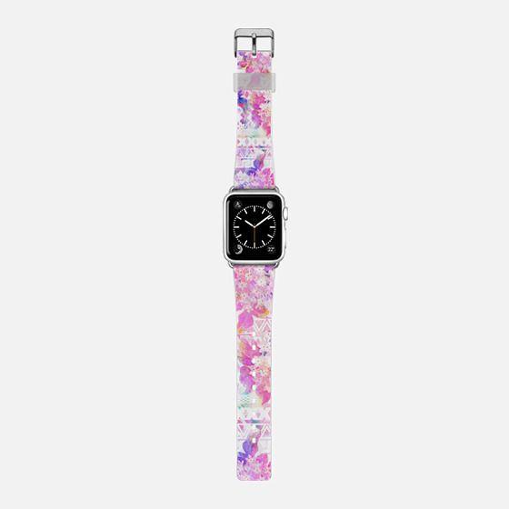 Pink white watercolor flowers aztec pattern -