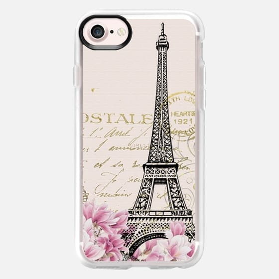 Vintage paris eiffel tower shabby chic pastel floral gold typography -