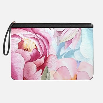 Tech Clutch - Medium  Trendy Watercolor Blush Pink Floral Pattern