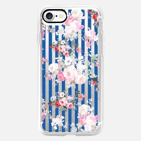 Vintage bohemian pink roses blue white stripes -