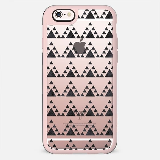 Trendy hand painted black white watercolor triangles zigzag