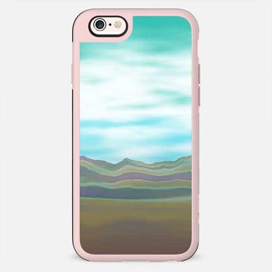 Abstract turquoise teal brown landscape - New Standard Case