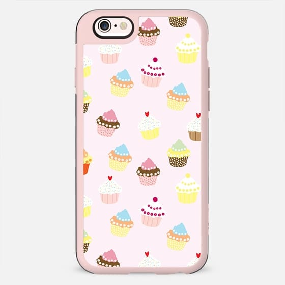 Vintage pink colorful sweet floral cupcakes pattern