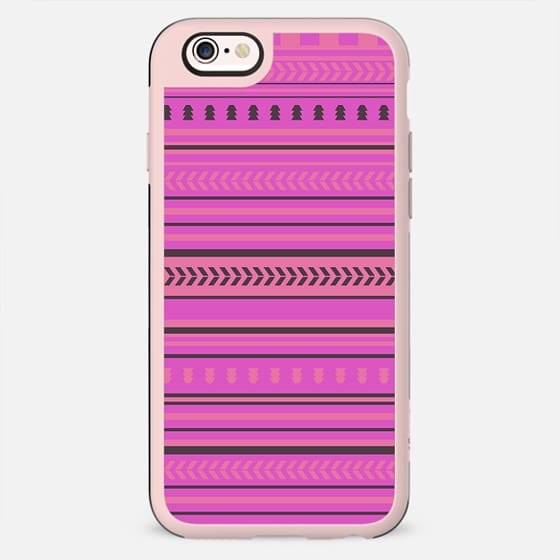 Pink coral geometric aztec stripes pattern - New Standard Case