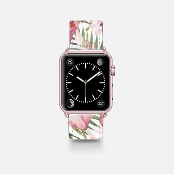 Apple Watch Band (42mm)  Blush pink lavender green watercolor tropical floral