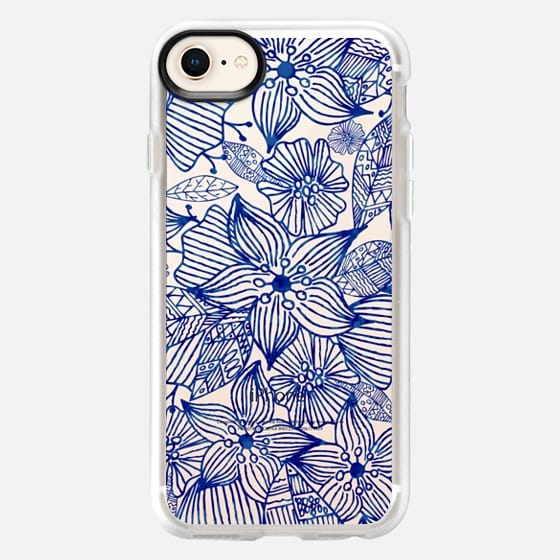 Hand painted royal blue white watercolor floral - Snap Case