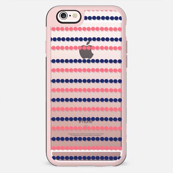 Modern nautical blue coral polka dots stripes pattern