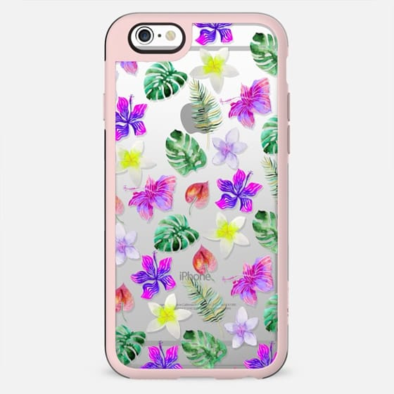 Pink violet green watercolor hand painted hibiscus floral - New Standard Case
