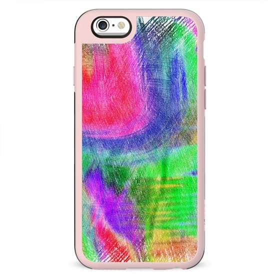 Abstract colorful pink purple hand painted scribble pattern