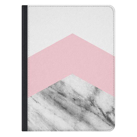 iPad Pro 12.9 Covers - Blush pink black white geometric vintage marble