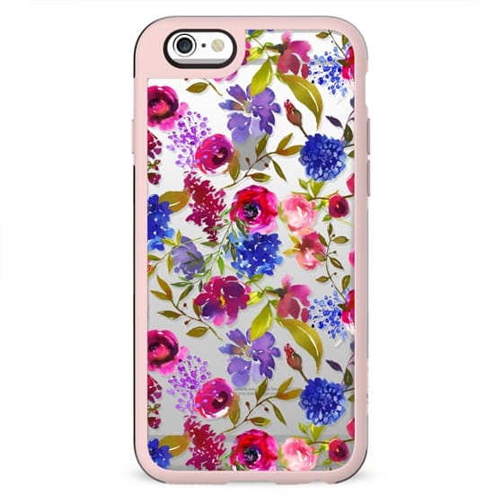 Hand painted lilac fuschia green watercolor floral pattern