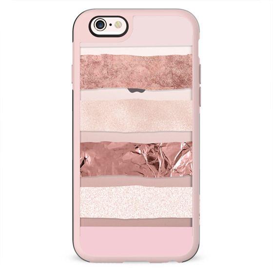 Modern blush pink faux rose gold geometrical stripes