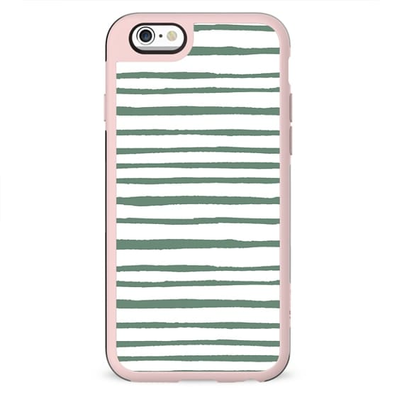 Geometrical hand painted pastel green watercolor stripes