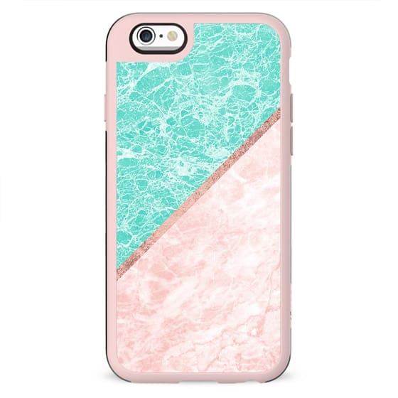 Turquoise teal pink rose gold geometrical marble