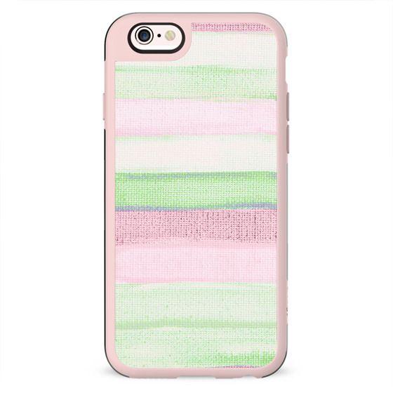 Blush pink green watercolor brushstrokes stripes