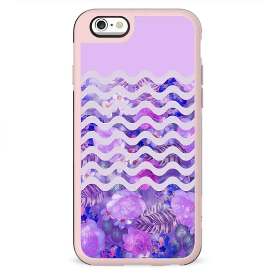 Geometrical lilac pink watercolor tropical floral