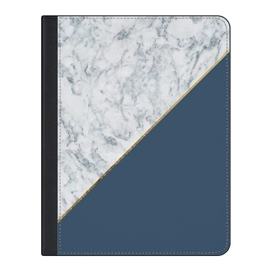 11-inch iPad Pro Covers - Elegant mauve blue white marble faux gold geometric