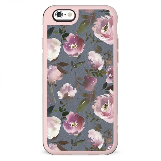 Blush pink violet gray hand painted watercolor floral