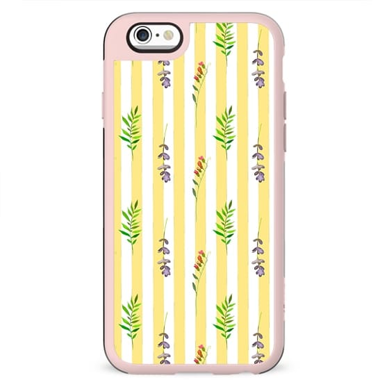 Geometrical yellow white pink watercolor floral leaves stripes