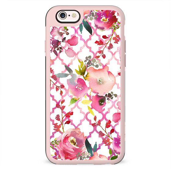 Pink coral violet watercolor floral quatrefoil pattern