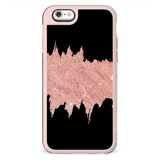 Black abstract faux pink glitter brushstrokes