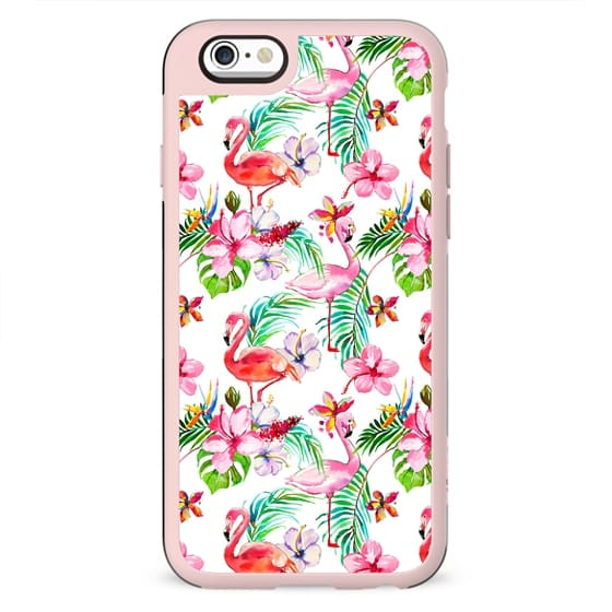 Hand painted blush pink coral watercolor tropical flamingo floral