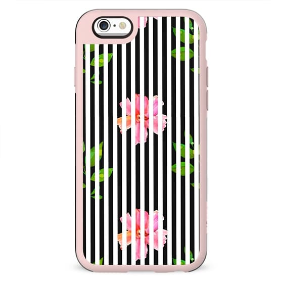 Geometrical black white stripes pink floral