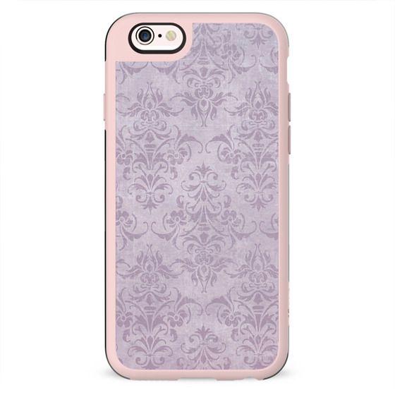 Vintage chic violet lilac floral damask pattern