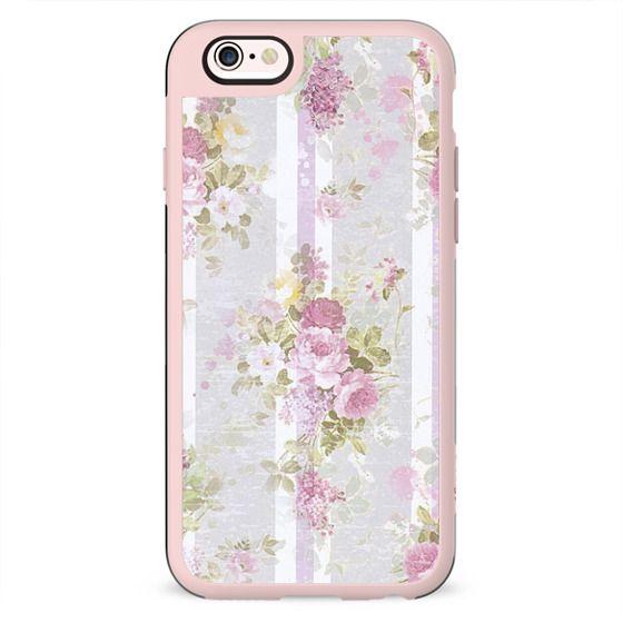 Vintage pink lilac watercolor roses floral stripes pattern