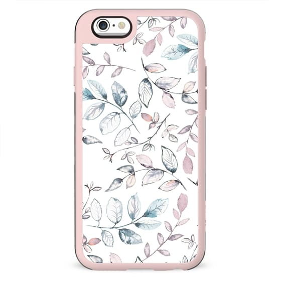 Hand painted blush pink blue watercolor leaves floral