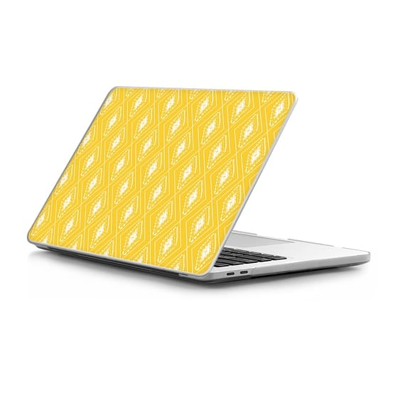 MacBook Pro Touchbar 13 Sleeves - Geometrical yellow white abstract hand painted pattern