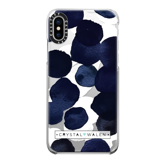 iPhone X Cases - Indigo White Dots Clear