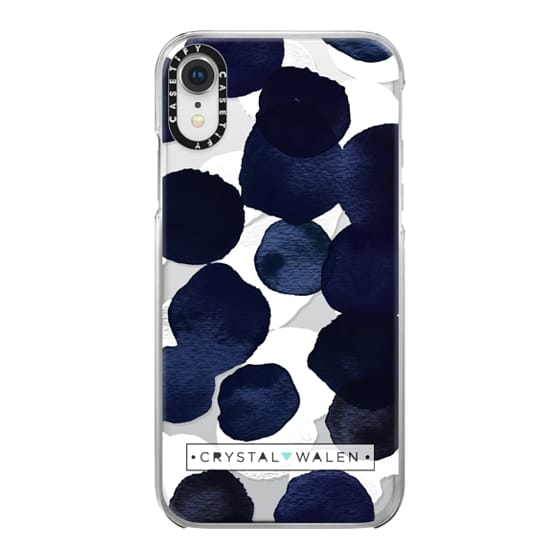 iPhone XR Cases - Indigo White Dots Clear